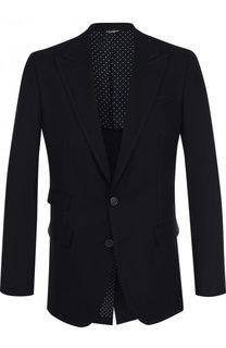 Однобортный пиджак из смеси шерсти и хлопка Dolce & Gabbana