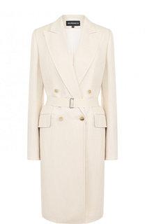Однотонное пальто из смеси вискозы и льна с поясом Ann Demeulemeester