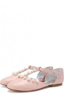 Кожаные балетки на ремешке с жемчужинами Simonetta