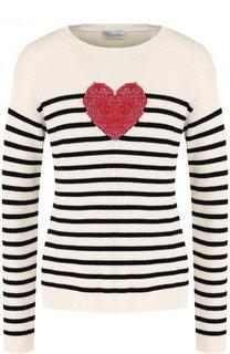 Хлопковый пуловер в полоску с круглым вырезом REDVALENTINO