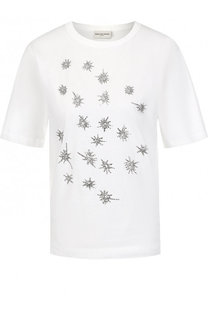 Хлопковая футболка с круглым вырезом и контрастной отделкой Dries Van Noten