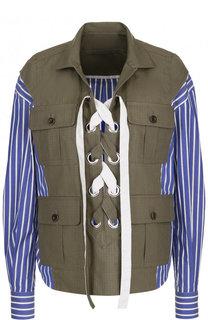 Хлопковая блуза свободного кроя со шнуровкой Sacai