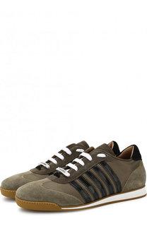 Комбинированные кроссовки New Runner на шнуровке Dsquared2