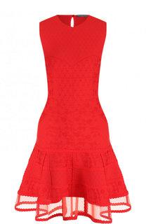 Приталенное мини-платье с прозрачной оборкой Alexander McQueen