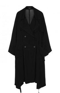 Полупрозрачное двубортное пальто из вискозы Ann Demeulemeester