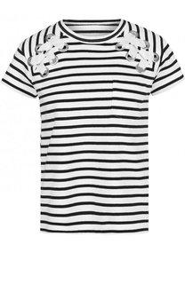 Хлопковая футболка свободного кроя в полоску Sacai