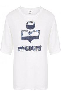 Льняная футболка свободного кроя с принтом Isabel Marant Etoile
