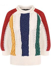 Пуловер фактурной вязки с круглым вырезом и укороченным рукавом Sacai