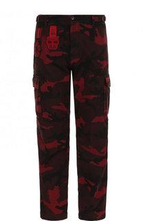 Хлопковые брюки-карго с камуфляжным принтом и нашивками Valentino