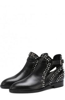 Кожаные ботинки с металлической отделкой Alaia
