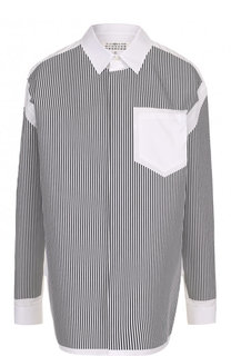 Хлопковая блуза свободного кроя в полоску Maison Margiela