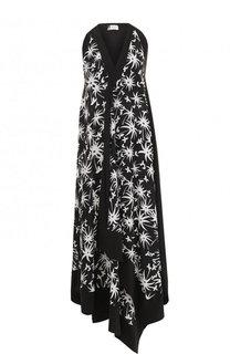 Шелковое платье-миди с контрастным принтом Lanvin