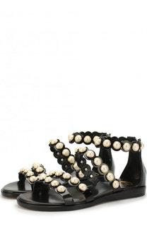Кожаные сандалии с ремешком и жемчужинами Gallucci