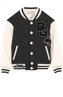 Текстильная куртка-бомбер с кожаной отделкой и аппликациями Dolce & Gabbana