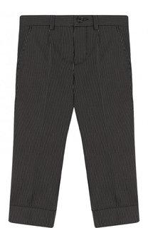 Хлопковые брюки прямого кроя в полоску Dolce & Gabbana