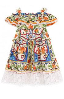 Хлопковое платье с кружевной отделкой и открытыми плечами Dolce & Gabbana