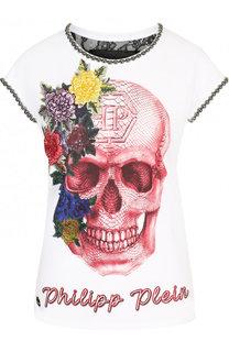 Приталенная хлопковая футболка со стразами и вышивкой Philipp Plein