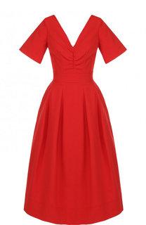 Приталенное хлопковое платье-миди с V-образным вырезом Oscar de la Renta
