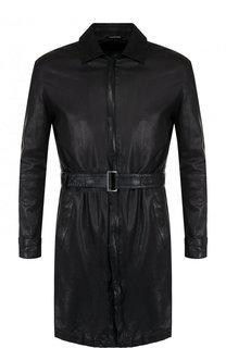 Кожаное пальто на молнии с поясом Emporio Armani