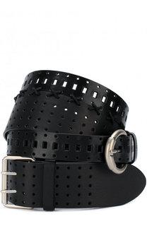 Двойной кожаный ремень с перфорацией и металлическими пряжками Maison Margiela
