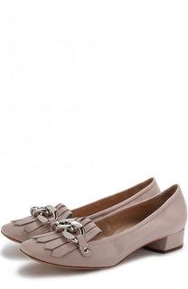 Кожаные туфли с бахромой на устойчивом каблуке Casadei