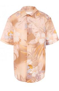 Блуза из смеси льна и хлопка с принтом Maison Margiela