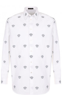 Хлопковая рубашка с принтом Versace