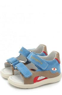 Кожаные сандалии с замшевой отделкой и застежками велькро Falcotto