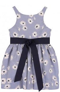 Приталенное платье с принтом и контрастным поясом Polo Ralph Lauren