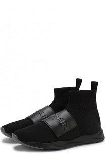 Высокие текстильные кроссовки Cameron с кожаным ремешком Balmain
