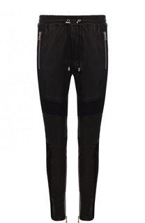 Кожаные зауженные брюки с текстильными вставками и поясом на кулиске Balmain