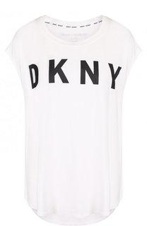 Топ свободного кроя с контрастным логотипом бренда DKNY
