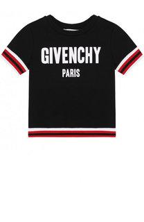 Хлопковый свитшот с короткими рукавами и логотипом бренда Givenchy