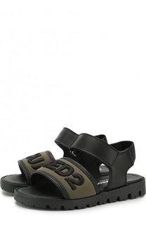 Кожаные сандалии с текстильной отделкой и застежками велькро Dsquared2