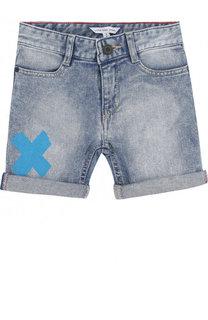 Джинсовые шорты с декоративными потертостями и принтом Marc Jacobs