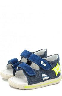 Текстильные сандалии с застежками велькро и замшевой отделкой Falcotto