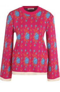 Хлопковый пуловер с расклешенными рукавами и круглым вырезом Tak.Ori