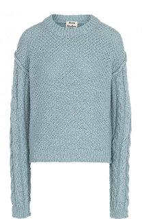 Хлопковый пуловер свободного кроя с круглым вырезом Acne Studios