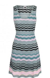 Приталенное вязаное мини-платье с круглым вырезом M Missoni
