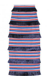 Хлопковая юбка-карандаш в полоску с бахромой Stella Jean