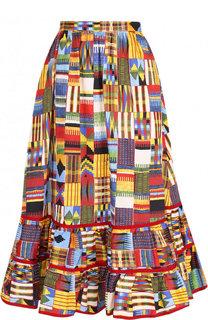 Хлопковая юбка-миди с принтом и оборкой Stella Jean