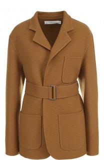 Однотонное укороченные пальто с поясом Victoria Beckham