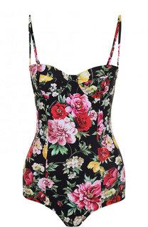 Слитный купальник с контрастным цветочным принтом Dolce & Gabbana