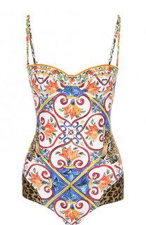 Слитный купальник с контрастным принтом Dolce & Gabbana