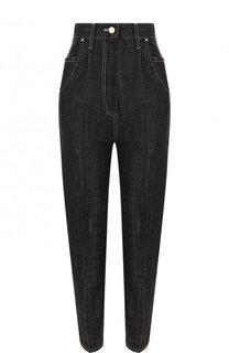 Укороченные джинсы с завышенной талией и контрастной прострочкой Hillier Bartley