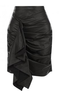 Однотонная кожаная мини-юбка с драпировкой DROMe