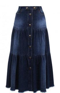 Джинсовая юбка-миди с потертостями REDVALENTINO