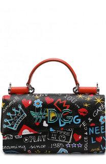Кожаный кошелек с принтом на цепочке Dolce & Gabbana