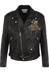 Кожаная куртка на молнии с отложным воротником и принтом Loewe