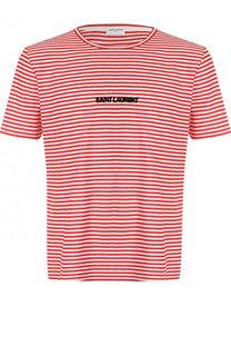 Хлопковая футболка в полоску Saint Laurent